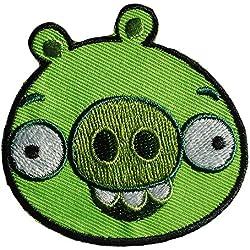 Toppe termoadesive - Angry Birds Comic bambini - verde - 5,9x5,8cm - Patch Toppa ricamate Applicazioni Ricamata da cucire adesive