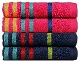 #8: Casa Copenhagen 475 GSM 100 % Combed Cotton EXOTIC 4 Pcs Hand Towels Set - Honey Suckle & Midnight blue