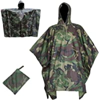 GOTOTOP Military Waterproof Army Hooded Rain Cape Camouflage Poncho for Camping Hiking Outdoor Sports