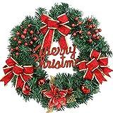 Chenqi Merry Christmas Wreath Decoration Ghirlanda per Porte e finestre (40 cm) - Fiocco Rosso