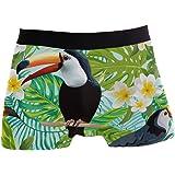 ALARGE Men's Boxer Briefs, Palm Leaves Toucan Bird Flower Short Underwear Soft Stretch Underpants for Men Boys S-XL