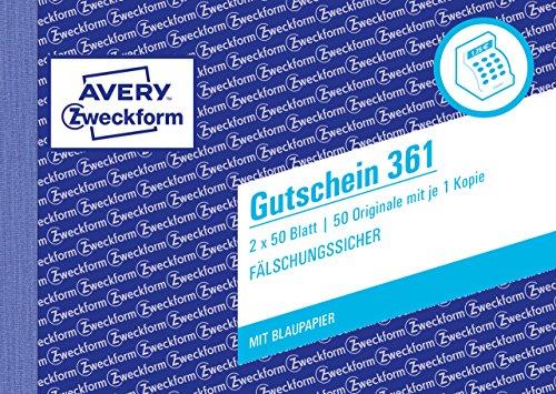 Preisvergleich Produktbild Avery Zweckform 361 Gutschein (A6 quer, mit 1 Blaupapier, 2x50 Blatt) weiß/gelb