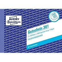Avery Zweckform 361 Gutschein (A6 quer, mit 1 Blaupapier, 2x50 Blatt) weiß/gelb