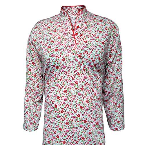 Damennachthemd Sleepshirt aus 100% Baumwolle, Stehkragen Geblümt 7/8 Ärmel M/3XL Rot