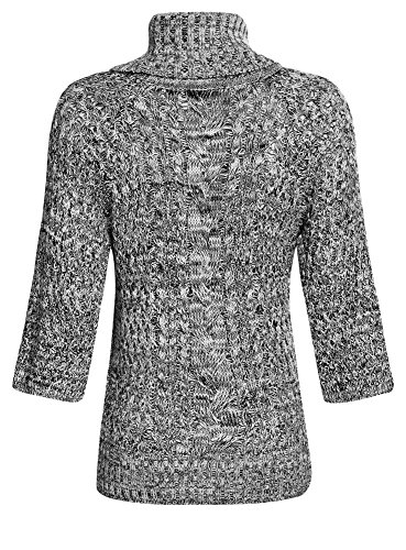 oodji Collection Damen Pullover mit Lurex und Rollkragen Grau (2912M)
