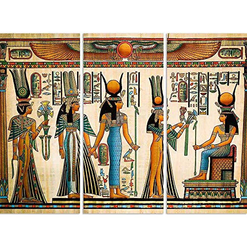 ArtzFolio Egyptian Queen Nefertari Making An Offering to Isis D2 Split Art Painting Panel On Sunboard 36.5 X 27.4Inch (Queen-size-split-box)