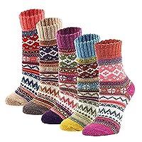 EXIU Women Wool Cashmere Dress Socks Snowflake Tube Sports Warm Winter Christmas Gift (5 Pack)