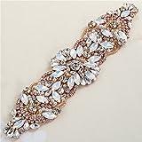 Hierro en el Rhinestone y la perla Applique nupcial para los vestidos de boda Cinturones y los marcos (oro de Rose)
