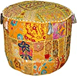 Indian Embroidered Patchwork Ottoman Cover, Indian Decorative Pouf Ottoman, Comfortable Floor Cotton Cushion Ottoman Pouf, Indian Designs Ethnic Patchwork Pouf, 18x13 Inch. By Bhagyoday