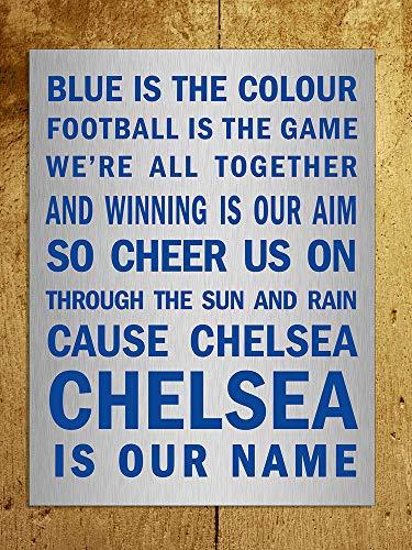 Yilooom Metallschild Chelsea Blue is The Colour Song Metallic-Dekoration, 17,8 x 25,4 cm, Metall, Multi, 7 x 10 -
