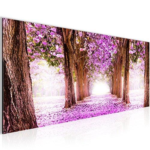 Bilder Wald Landschaft Wandbild 100 x 40 cm Vlies - Leinwand Bild XXL Format Wandbilder Wohnzimmer Wohnung Deko Kunstdrucke Violett 1 Teilig -100% MADE IN GERMANY - Fertig zum Aufhängen 605612b (Wald Violett)