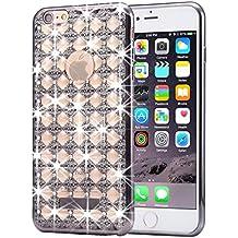 iPhone 6S plus y 6 más funda de diamante, KrygerShield® - super ligero de lujo super cubierta de ágata flaca - negro