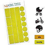 Pegatinas luminosas SafeKIDS, AMARILLO, 13 unidades para cochecitos de bebé, bicicletas, cascos de ciclista y más