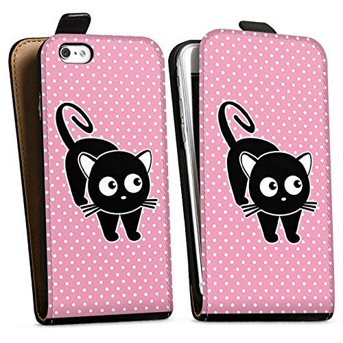 Apple iPhone X Silikon Hülle Case Schutzhülle Katze Punkte Cat Downflip Tasche schwarz