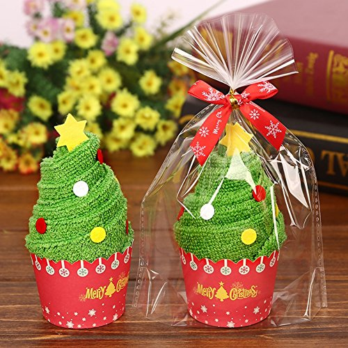 Minuya Baumwolle Dekoration Weihnachten Modellierung Handtuch Waschlappen Kuchen Tuch Weihnachtsmann Schneemann Tannenbaum Weihnachtsbaum Cupcakestil Kreative Geschenke