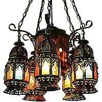 Pumpink Bohemia arte de hierro multicolor lámpara de araña de cristal Turquía Vintage calado cinco cabezas ajustable luces colgantes Modelo retro creativa lámpara de techo para estudio restaurante salón de sala de barbero