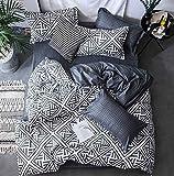 Black&Weiss Home Ganzjahres-Wende-Bettwäsche mit Reißverschluss I leicht, weich, atmungsaktiv, hypoallergen I Enthält: 1 Bettbezug 135x200cm/1 Kissenbezug 80x80cm I Öko-Standard 100