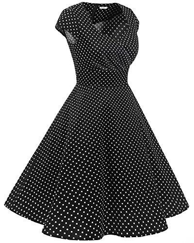 Bbonlinedress 1950er Vintage Retro Cocktailkleid Rockabilly V-Ausschnitt Faltenrock Black Small White Dot