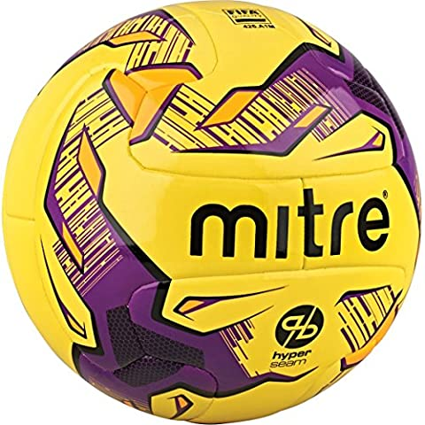 Mitre Manto Hyperseam Match Football - Yellow/Purple/Black, Size 5