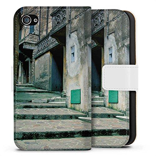 Apple iPhone X Silikon Hülle Case Schutzhülle Gasse Gebäude Treppe Sideflip Tasche weiß