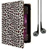 Vangoddy Mary Stehend Portfolio Schutzhülle für EFUN NEXTBOOK Flexx 9, 8,9Zoll Tablet mit Kopfhörer (Leopard)