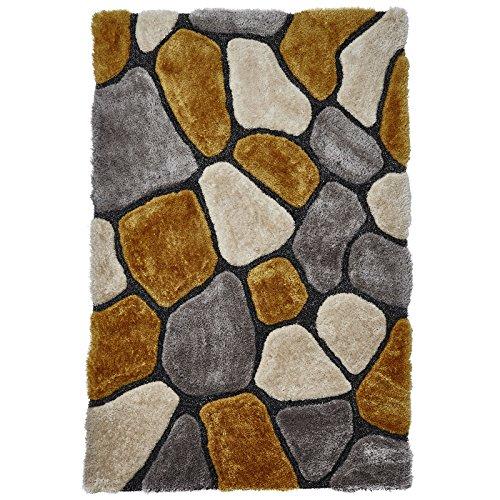 HomeLinenStore Designer-Multi mit 3d-Effekt, von Hand getuftet Shaggy Teppich mit verschiedenen Größen in grau/gelb, Grey/Yellow, 120 x 170 cm - Hand Getuftet Teppiche