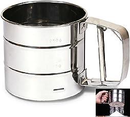 Segolike Stainless Steel Mesh Flour Sifter Mechanical Baking Icing Sugar Shaker Sieve Silver