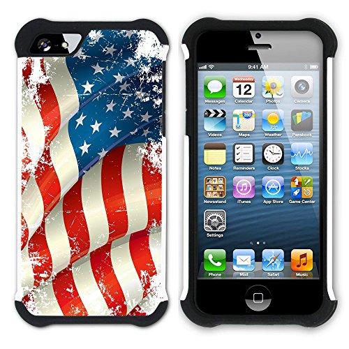 Graphic4You Wehende Fahne Vintage Amerikanisch Vereinigte Staaten Hart + Weiche Kratzfeste Hülle Case Schale Tasche Schutzhülle für Apple iPhone SE / 5 / 5S Design #3