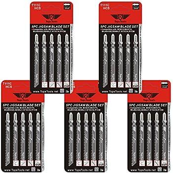 Milwaukee et bien dautres encore Dewalt Makita 15 x TopsTools T111C Lot de lames de scie sauteuse pour Bosch