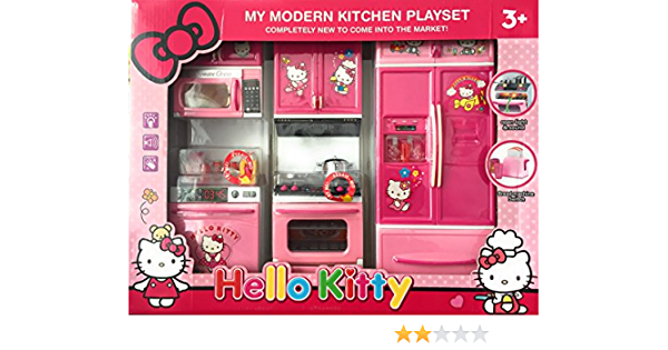 Baby N Toyys Hello Kitty Modern Kitchen Play Set With Refrigerator Cook Top Pink Amazon In