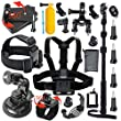 Leknes Kit d'Accessoires Sport de Plein Air Accessoire pour GoPro Hero 4 3+ 3 2 1 Noir Argent Accessory Kit for go pro SJ4000 SJ5000 Cam�ra Sportif