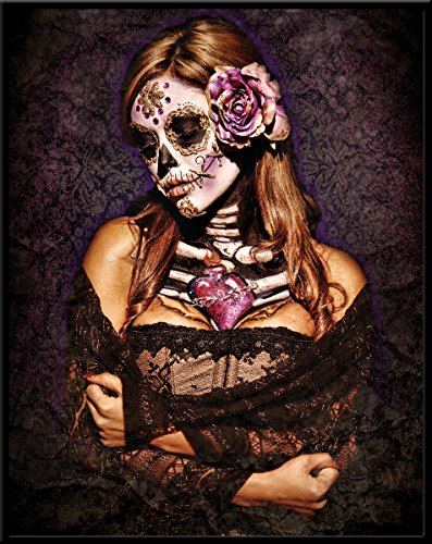 Unbekannt Daveed Benito Day of The Dead Skull Girl Sexy Gothic Pinup Art Postkarte Poster Print 11x14 Framed -