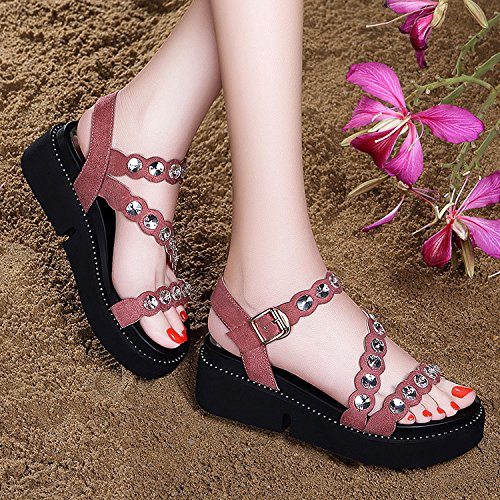 ZPPZZP La sig.ra sandali spessa di stile Coreano punta aperta con punte di pendenza artificiale con scanalato 38EU