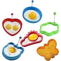 KeepingcooX Stampo in silicone per uova e pancake  antiaderente  per fritture e pancake  anelli di cottura in silicone   cuore  fiore  orso  rotondo la colazione  separatore uovo  pennello per cottura
