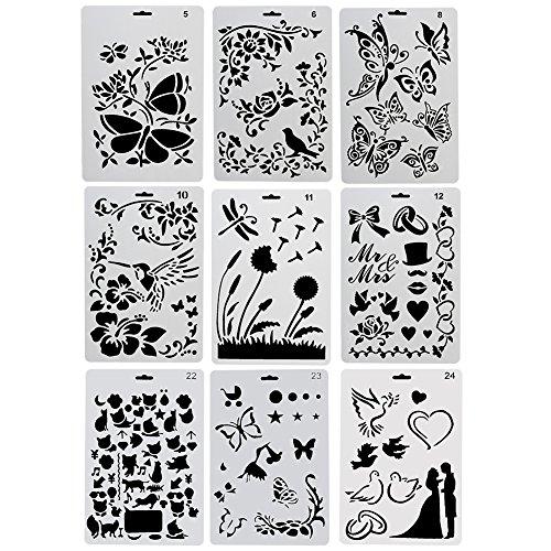 (Nouvelife 9Stück Schablonen, Motiv Tiere (Insekten, Vögel, Schmetterlinge), Malerei, 26x 17,5cm, wiederverwendbar, biegsam, für Scrapbooking, Geburtstagskarten, Wanddekoration)
