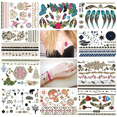 nuolux-metallic-tattoos-temporary-tattoos-10-sheets-waterproof