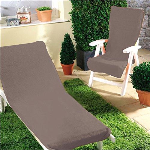 Schonbezug für Gartenstuhl & Gartenliege aus dem Hause Dyckhoff - erhältlich in 7 sommerlichen Farben - mit Kapuze für besseren Halt, Gartendtuhl (60x130 cm), anthrazit