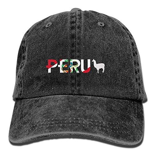 Aoliaoyudonggha Peru Flag Llama Baseball Caps Denim Hats for Men Women
