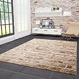 VIMODA Moderner Designer Teppich Stein Optik Mauer Muster Strapazierfähig in Braun 80x150 cm