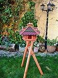 Vogelhaus -Holz Nistkästen & Vogelhäuser- Futterhaus aus Holz Vogelfutter mit ROT GRÜN DACH G mit Ständer BG40r-gGMS Bitumenschindeln