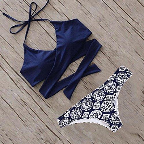 Overdose Damen Push Up Bikini-Sets Tankini Slip Beaderock Neckholder Bandeau Badeanzug Bademode swimwear swimsuits E-Blau1