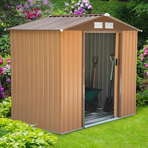 Outsunny lockable garden shed large patio roofed tool for Garden shed large