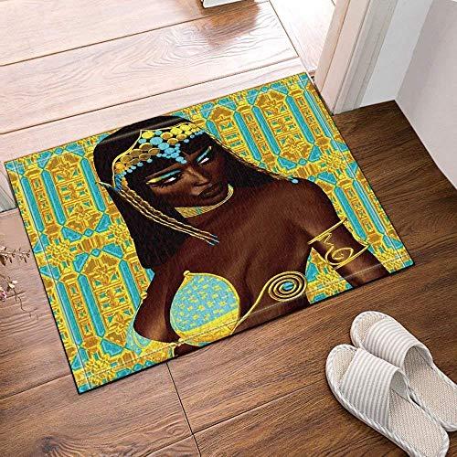 gwregdfbcv Aquarellmalerei auf einem blauen Hintergrund 1 Brown-alte ägyptische Schönheit hinter schwarzem Haar-goldenem blauem Kopfschmuck