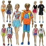 ZITA ELEMENT®Lot 15pcs = 5 Mode Casual Eté Court Costume de Vêtements +5 Paires Chaussures Pour Barbie Poupée + 5 Set Plage Tenue Pour Ken de Barbie - Modèle Aléatoire