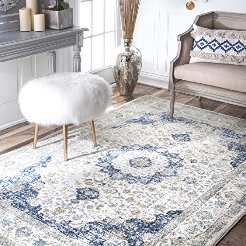 nuLOOM Traditional Distressed Persian Oriental Area Rug, Blue | 152 x 226 cm
