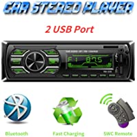 Autoradio Bluetooth Mains Libres, Radio Voiture avec 2 Ports USB,4x60W Radio Voiture Support FM/USB/MP3/WMA/TF/AUX +Télécommande, 7 Couleurs d'Eclairage,Soutien iOS, Android