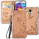 Slynmax Glitzer Schutzhülle für Samsung Galaxy S5/S5 Neo Hülle Wallet Case Ledertasche Brieftasche Lederhülle Handyhülle Handytasche Klapphülle Ständer Karte Halter Magnetverschluss(Braun)