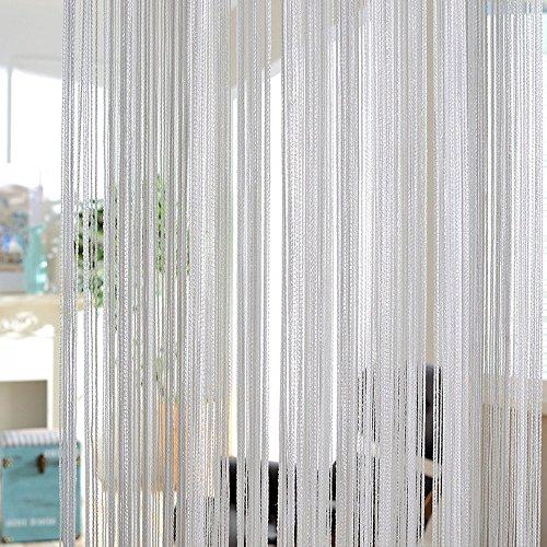 Tenda decorativa striscioni scintillante tenda a fili pannelli divisori effetto cascata frange sipario decorare finestre porte mobili interni (argentato grigio)