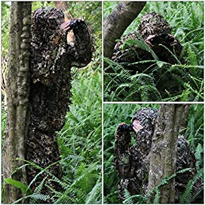 Tenue Camouflage, OUTERDO Ensemble Camouflage Tenue Camouflée Suits Camouflage Vêtement de Camouflage Feuille Ghillie Suit Woodland Treillis Camo Tenue de Camouflage Jungle 3D Hunting Chasse