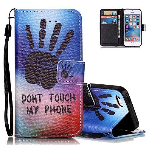 iPhone 5S Ledertasche,Flip Schutzhülle für iPhone 5/5S/SE, Aeeque® [Hand Sprichwort Muster] Kartenfach Standfunktion mit Schwarz Abnehmbar Handy Lanyard und Weich Silikon Innere Handytasche